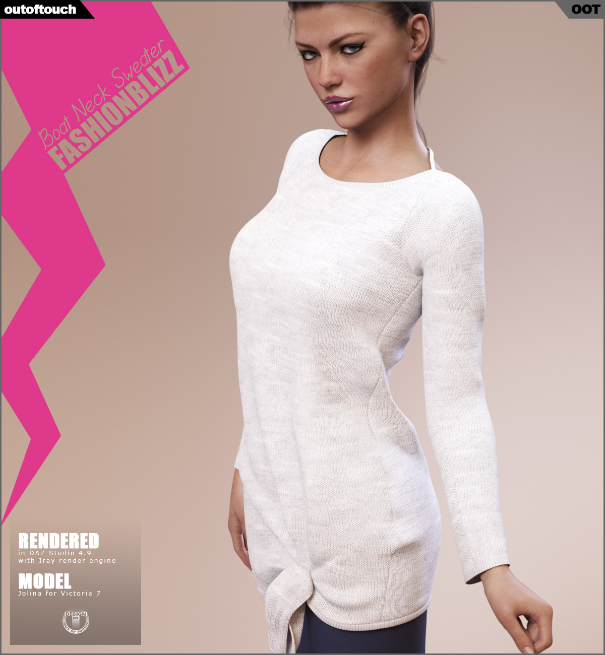 Fashion Blizz: Boat Neck Sweater for Genesis 3 Female(s)