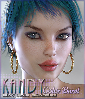 SV's Kandy Iray Color Burst Hair Shaders 3D Figure Assets Sveva