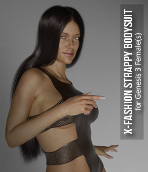 X-Fashion Strappy Bodysuit for Genesis 3 Female(s) 3D Figure Assets xtrart-3d