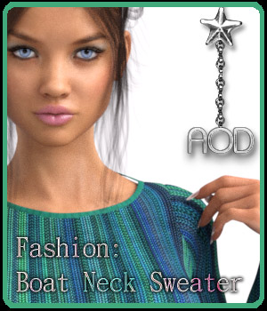 Fashion: FB Boat Neck Sweater 3D Figure Essentials ArtOfDreams