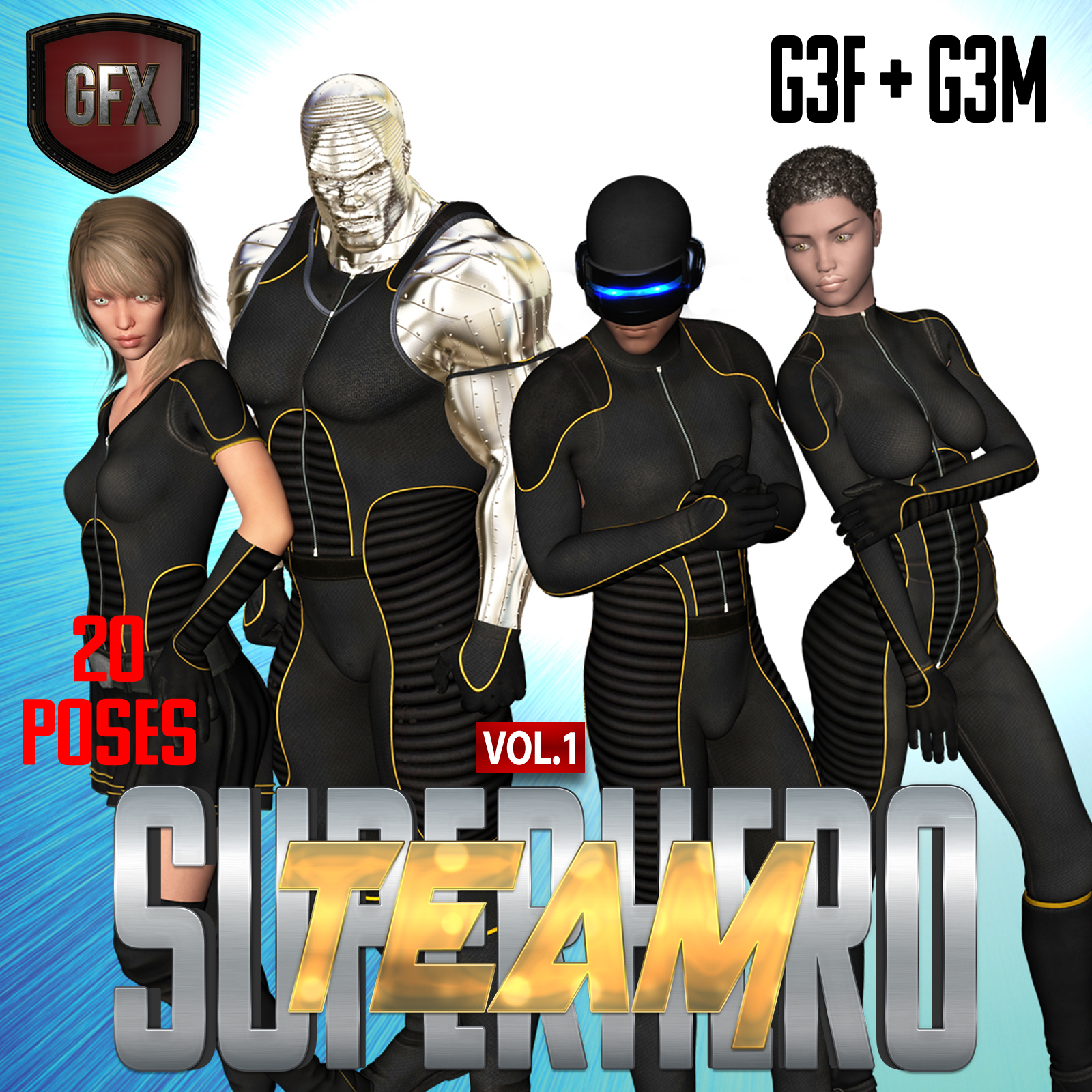 SuperHero Team for G3F & G3M Volume 1 by GriffinFX