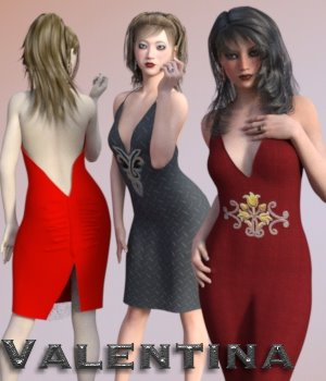 Valentina Dress for G3F 3D Figure Essentials chasmata