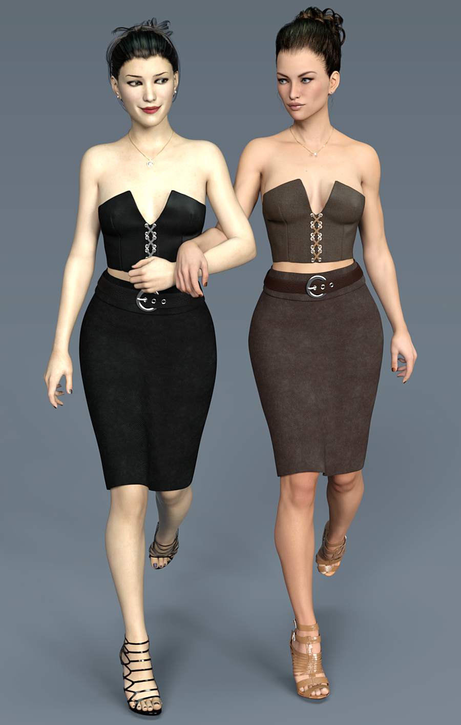 Pencil Skirt and Laced Bustier Set for G3F