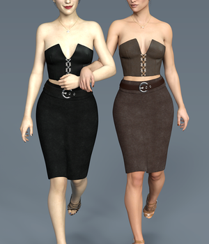 Pencil Skirt and Laced Bustier Set for G3F 3D Figure Essentials Lionlady