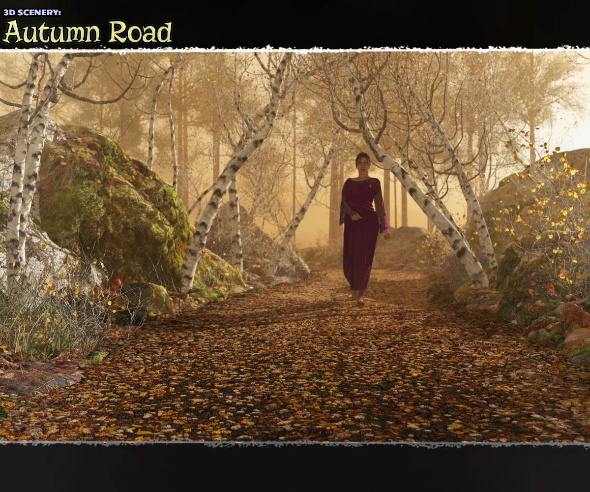 3D Scenery: Autumn Road by ShaaraMuse3D