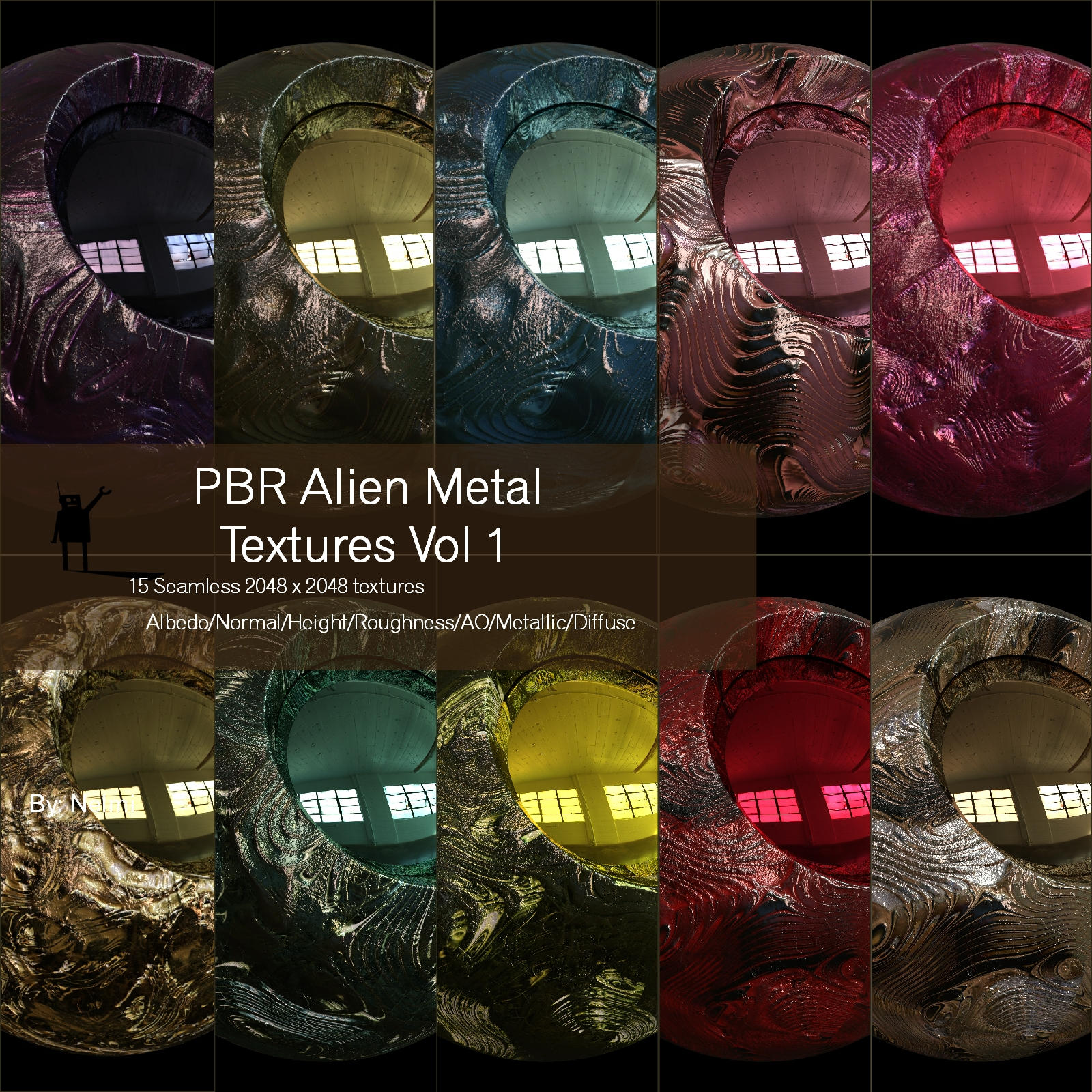 15 Seamless Alien Metal PBR Textures and Texture Maps