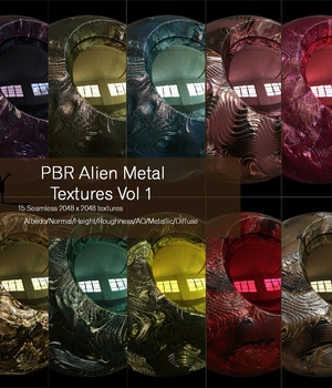 15 Seamless Alien Metal PBR Textures and Texture Maps 2D Graphics nelmi