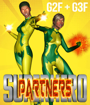 SuperHero Partners for G2F & G3F Volume 1 3D Figure Assets GriffinFX