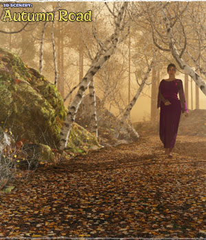 3D Scenery: Autumn Road - Extended License 3D Models Extended Licenses ShaaraMuse3D