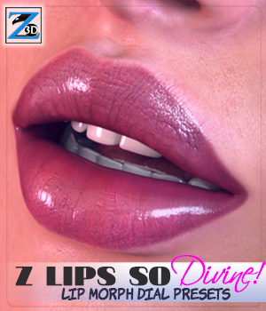 Z Lips So Divine - Lip Morph Dial Presets for the Genesis 3 Female(s) 3D Figure Essentials Zeddicuss