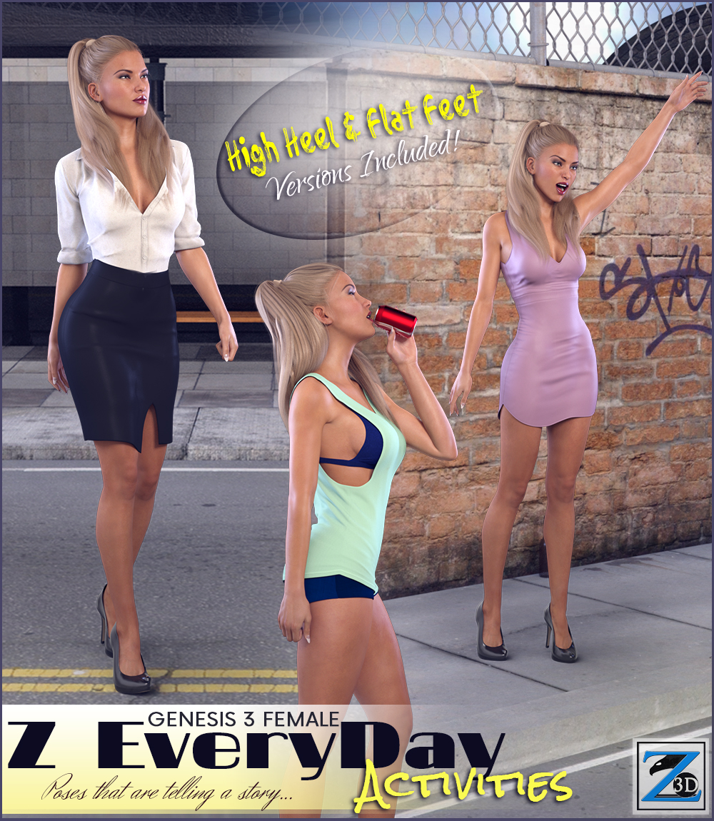Z Every Day Activities - Poses for the Genesis 3 Females by Zeddicuss