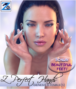 Z Perfect Hands for Genesis 3 Female 3D Figure Assets Zeddicuss