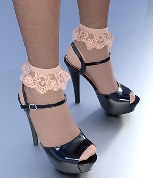 Platform Sandals & Socks For G3F 3D Figure Assets idler168