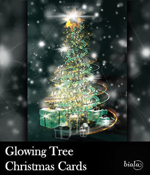 Glowing Tree Christmas Cards 2D biala