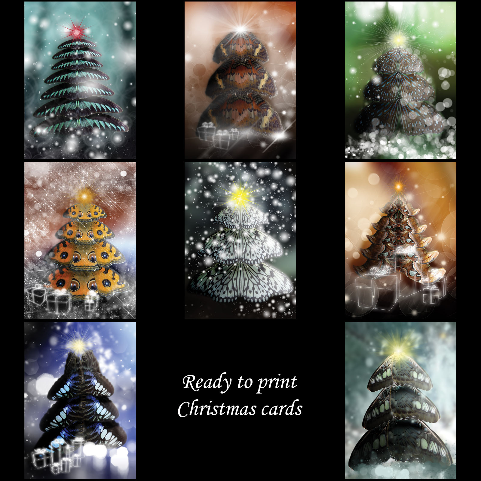 Butterfly Trees Christmas Cards