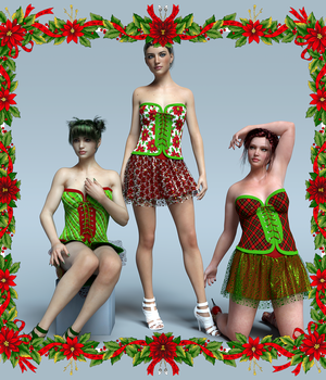 Festive Dress for G3F  3D Figure Essentials Lionlady