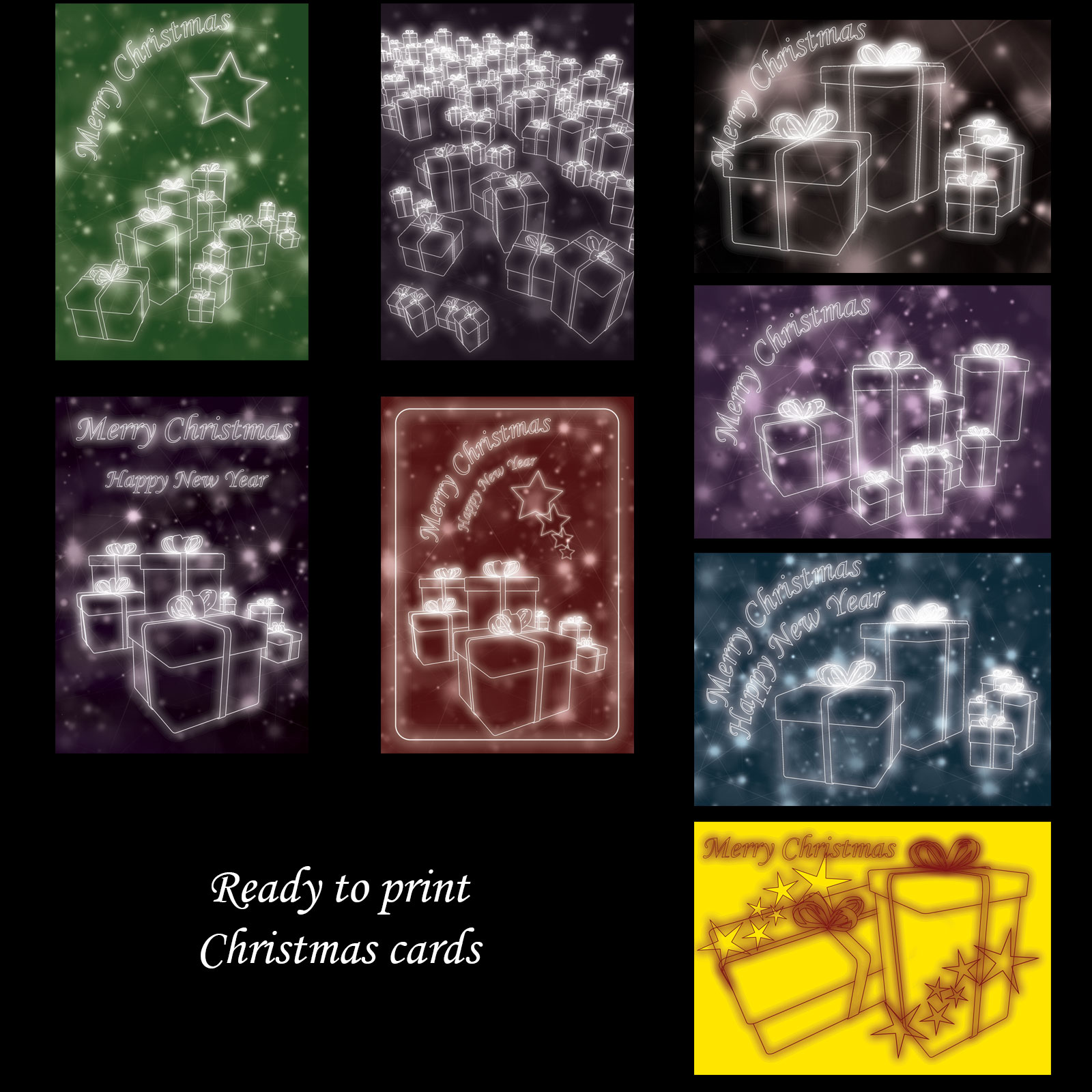 Neon Gifts Christmas Cards