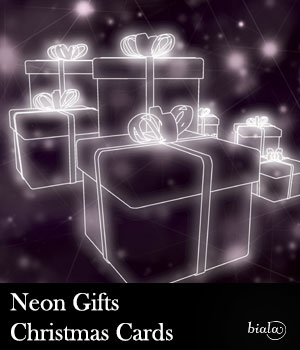 Neon Gifts Christmas Cards 2D Graphics biala