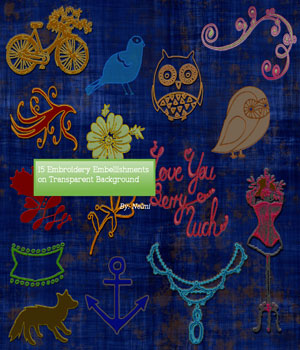 15 Embroidery Embellishments on transparent background