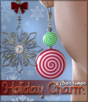 SV's Holiday Charm Earrings Genesis 3 Females 3D Figure Assets Sveva