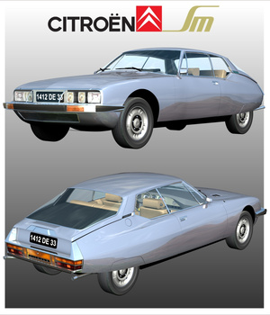 CITROEN SM 1970/1975 ( Poser and .OBJ ) 3D Models Nationale7
