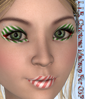 L.I.E. Genesis 3 Female Christmas Makeup 3D Figure Assets fictionalbookshelf
