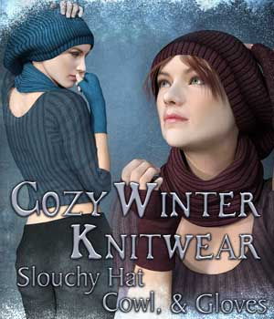 Cozy Winter Knitwear for Genesis 3 Female  3D Figure Assets KarenGrant