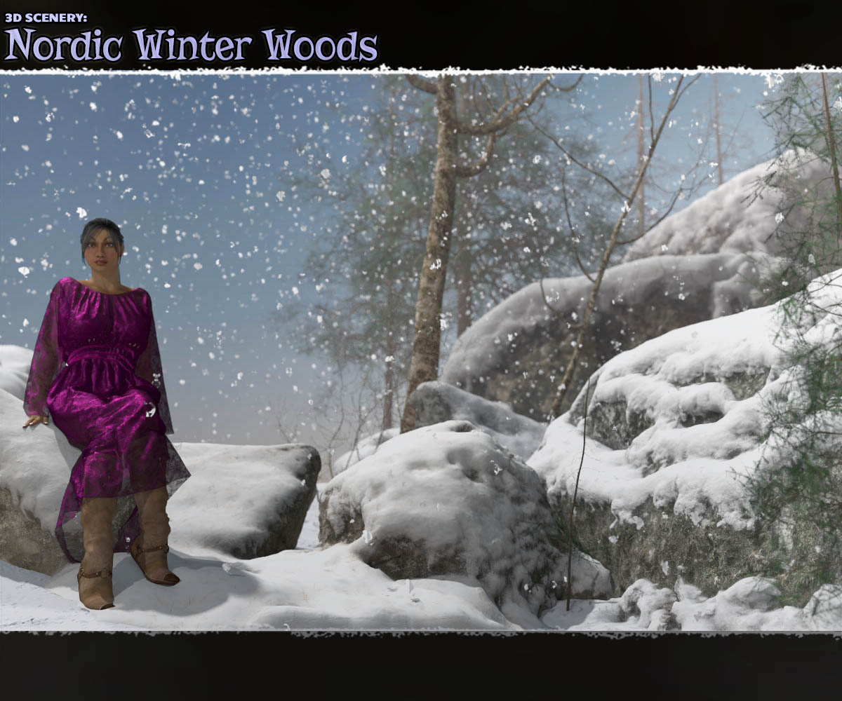 3D Scenery: Nordic Winter Woods - Extended License