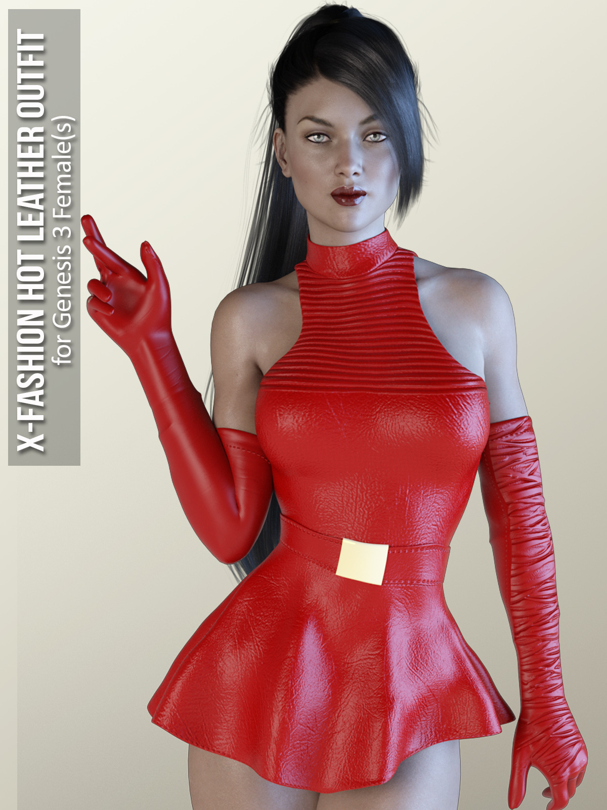 X-Fashion Hot Leather Outfit for Genesis 3 Females by xtrart-3d