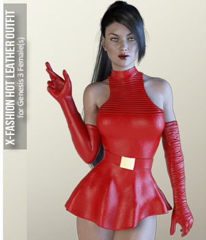 X-Fashion Hot Leather Outfit for Genesis 3 Females 3D Figure Assets xtrart-3d