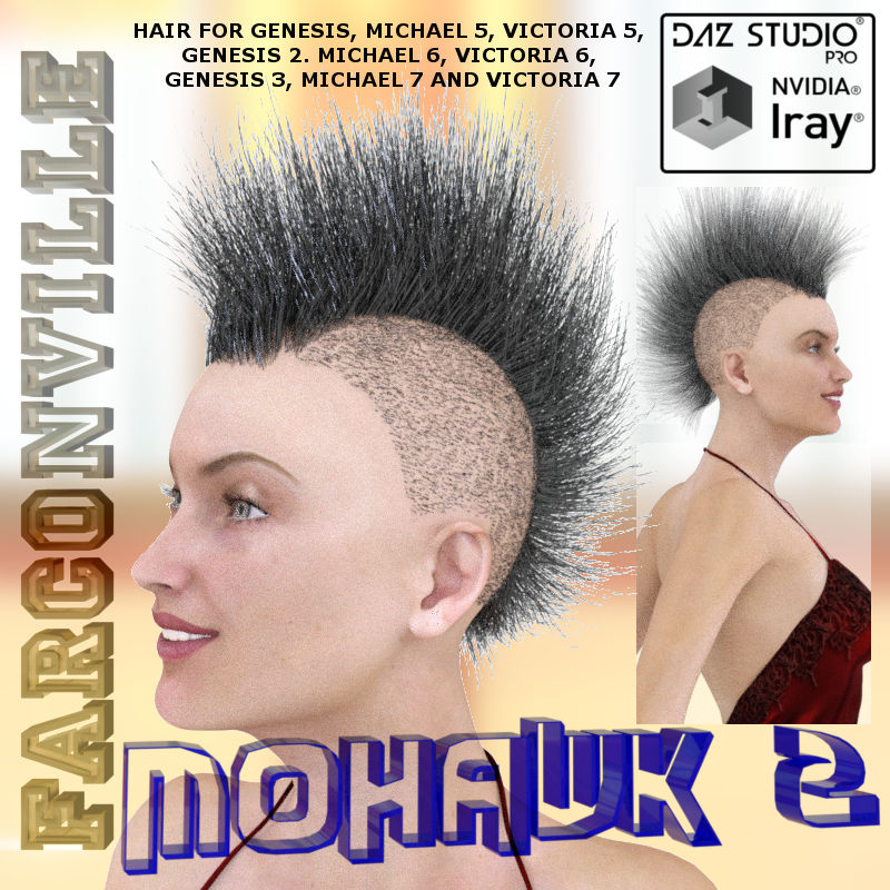 MOHAWK 2 HAIR FOR GENESIS, V5, M5, G2F, V6, G2M, M6, G3F, V7, G3M AND M7