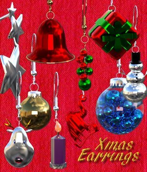 Xmas Earrings for G3F / V7 3D Figure Assets chasmata