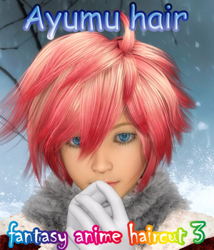 fantasy anime haircut 3 _Ayumu hair_ for G3M 3D Figure Assets muwawya