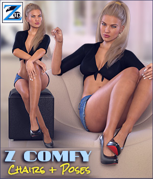 Z Comfy - Chairs & Poses 3D Figure Essentials 3D Models Zeddicuss