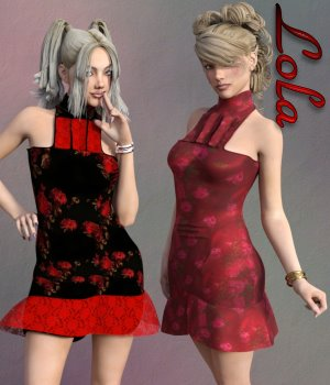 Lola Dress & Jewels for G3F 3D Figure Essentials chasmata