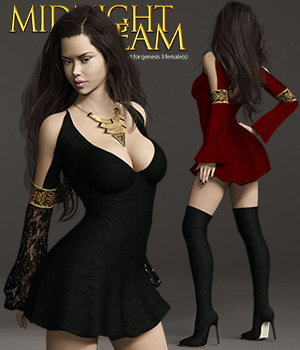 Midnight Dream - Outfit set for Genesis 3 Female(s) 3D Figure Assets Pretty3D