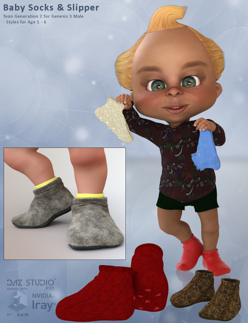 Baby Socks for Toon Generation 2 for Genesis 3 Male by Karth
