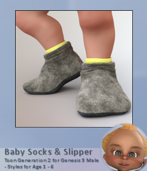 Baby Socks for Toon Generation 2 for Genesis 3 Male 3D Figure Assets Karth