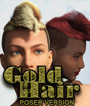 Gold Hair Poser 10 3D Figure Assets elvenesque