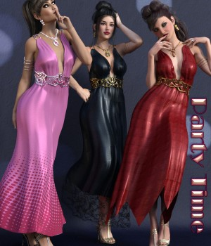 Party Time for Drusilla Dress & Jewels 3D Figure Assets chasmata