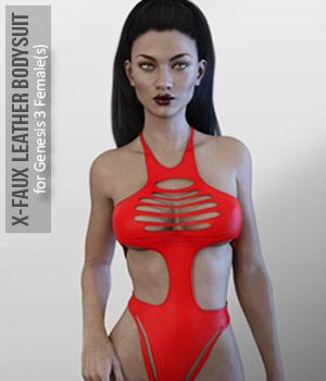 X-Faux Leather Bodysuit for Genesis 3 Female(s) 3D Figure Assets xtrart-3d