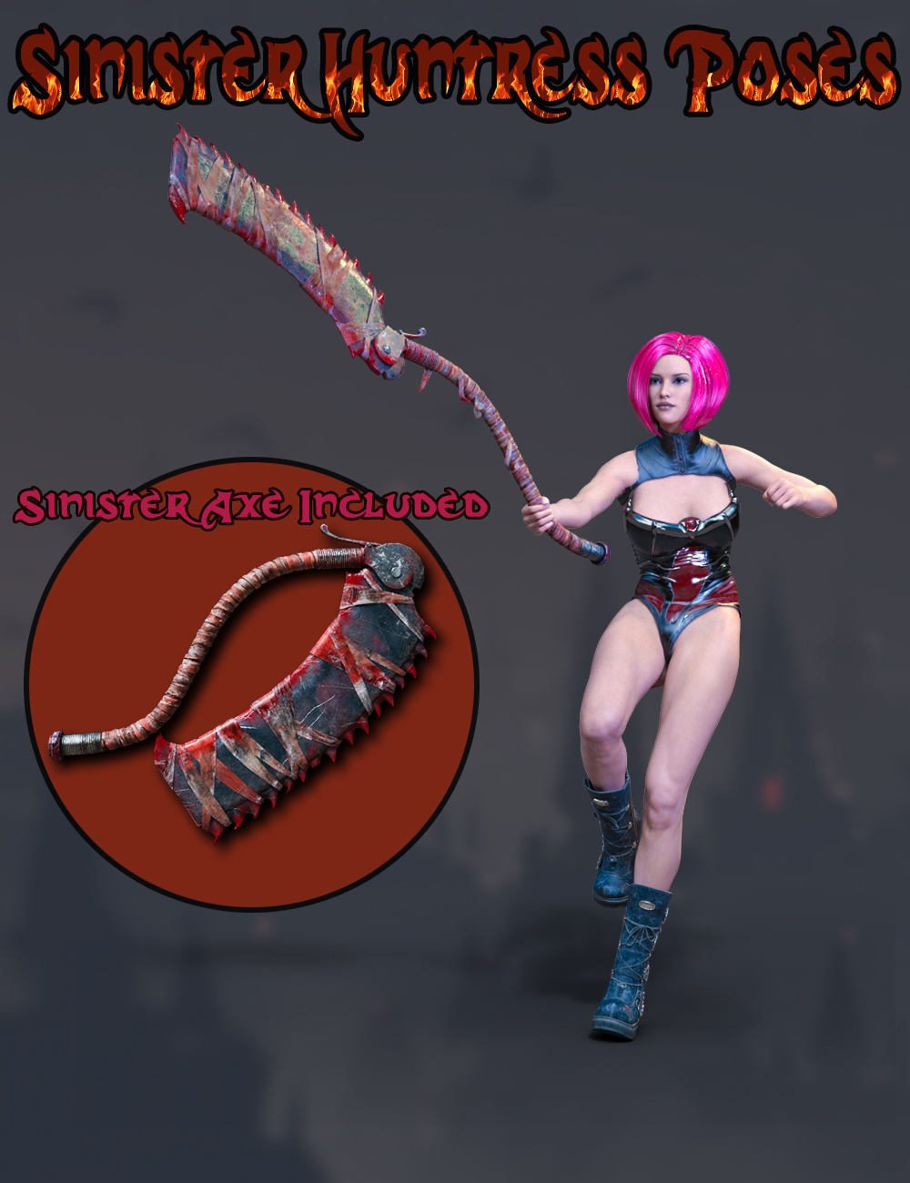 Slide3D Sinister Huntress Poses with Axe for Genesis 3 Females by Slide3D