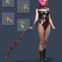Slide3D Sinister Huntress Poses with Axe for Genesis 3 Females image 4