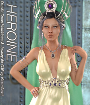 HEROINE - Drusilla Dress,Headdress and Jewels for Genesis 3 Female 3D Figure Assets Anagord