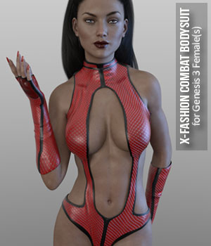 X-Fashion Combat Bodysuit for Genesis 3 Females 3D Figure Assets xtrart-3d