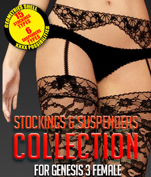 Stockings & Suspenders Collection for G3 females 3D Figure Assets powerage