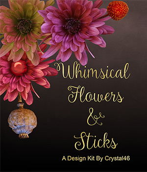 Whimsical Flowers and Sticks 2D Graphics Crystal46