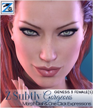 Z Subtly Gorgeous - Morph Dial and One-Click Expressions for G3F-V7 3D Figure Assets Zeddicuss