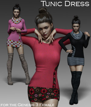 Tunic Dress and OTK Boots for G3F 3D Figure Assets RPublishing
