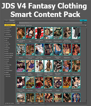 JDS V4 Fantasy Clothing Smart Content Pack 3D Software : Poser : Daz Studio : iClone jdstrider
